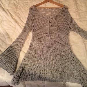 Gray crochet knit sweater